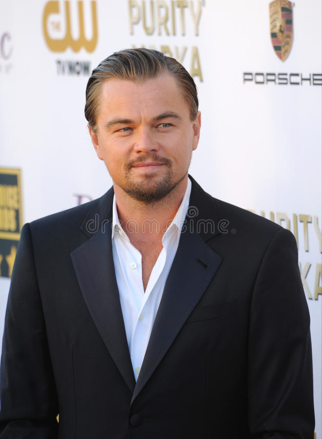 Leonardo DiCaprio. LOS ANGELES, CA - JANUARY 16, 2014: Leonardo DiCaprio at the 19th Annual Critics' Choice Awards at The Barker Hangar, Santa Monica Airport stock image
