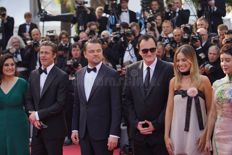 Leonardo DiCaprio Margot Robbie, Daniela Pick, Quentin Tarantino arkivbild