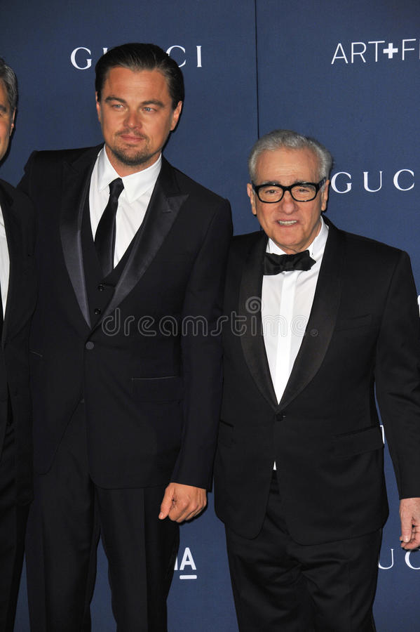 Leonardo DiCaprio & Martin Scorsese. LOS ANGELES, CA - NOVEMBER 2, 2013: Leonardo DiCaprio (left) & Martin Scorsese at the 2013 LACMA Art+Film Gala at the Los royalty free stock photography