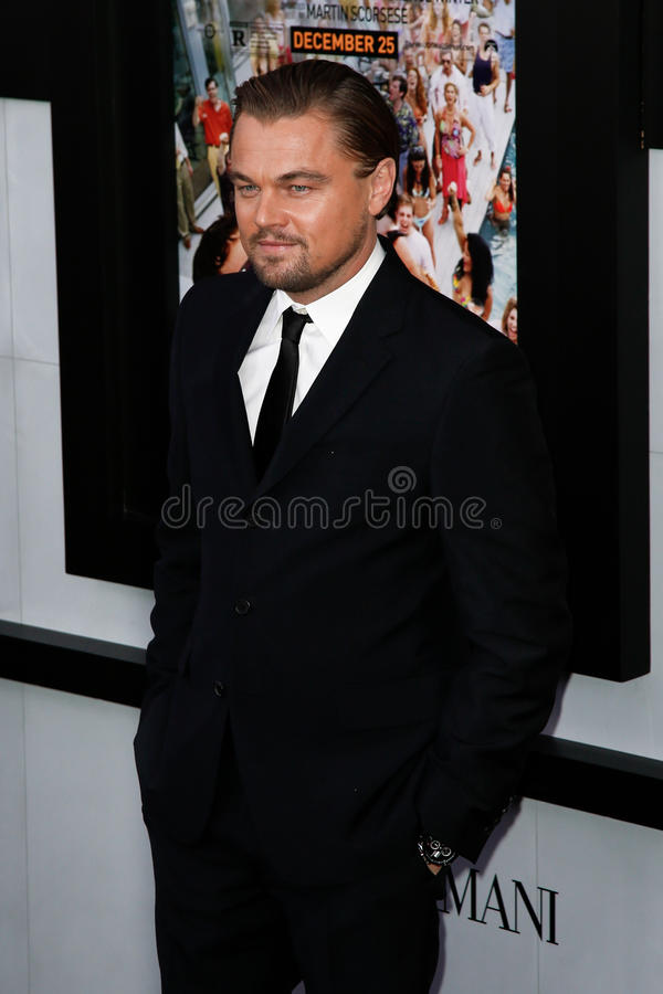 Leonardo DiCaprio. NEW YORK-DEC 17: Actor Leonardo DiCaprio attends the premiere of The Wolf of Wall Street at the Ziegfeld Theatre on December 17, 2013 in New royalty free stock photos