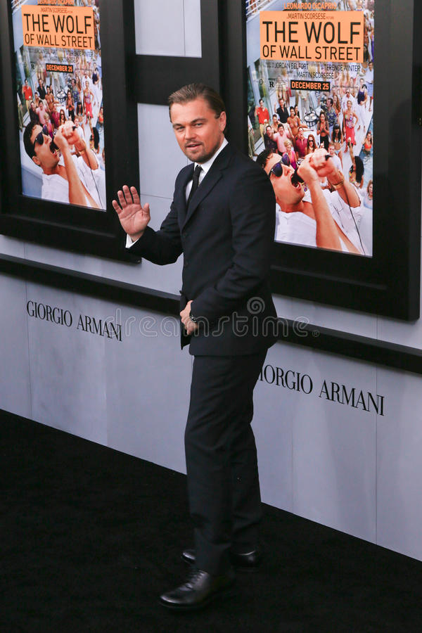 Leonardo DiCaprio. NEW YORK-DEC 17: Actor Leonardo DiCaprio attends the premiere of The Wolf of Wall Street at the Ziegfeld Theatre on December 17, 2013 in New royalty free stock photo