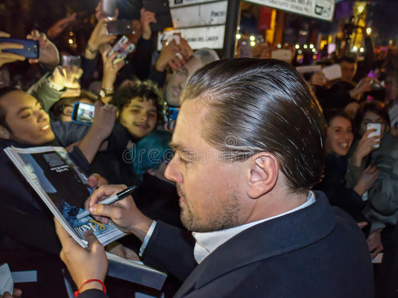 Leonardo DiCaprio. Rome, Italy - January 15, 2016: Actor Leonardo DiCaprio arrives in Rome leg of a European tour to promote his latest film, The Revenant royalty free stock photos