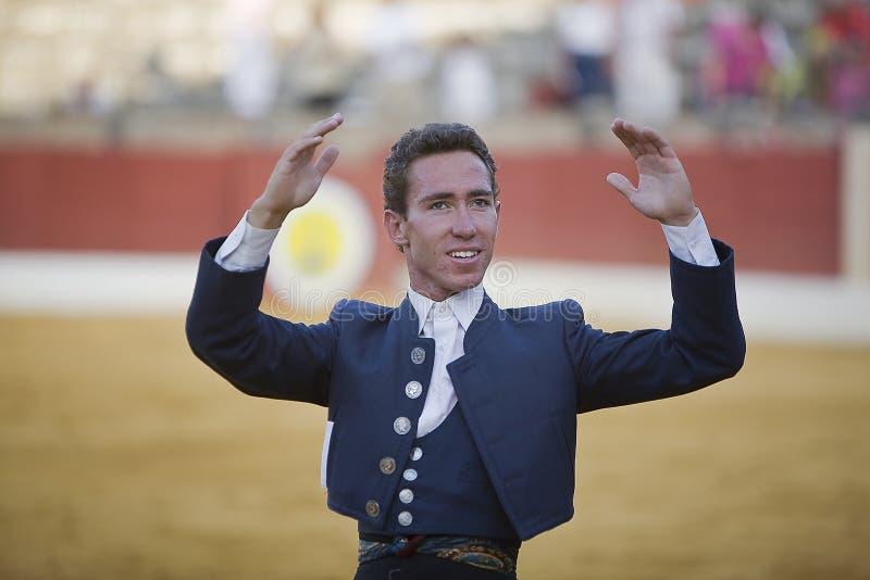 Leonardo Hernandez, bullfighter on horseback spanish. Baeza, Jaen province, Spain, 14 august 2009 stock photography