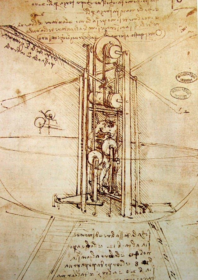 Leonardo's engineering drawing stock photos