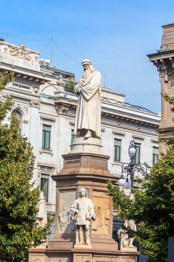 Leonardo`s monument on Piazza Della Scala, Milan, Italy. Leonardo`s monument on Piazza Della Scala, city Milan, Italy stock photos