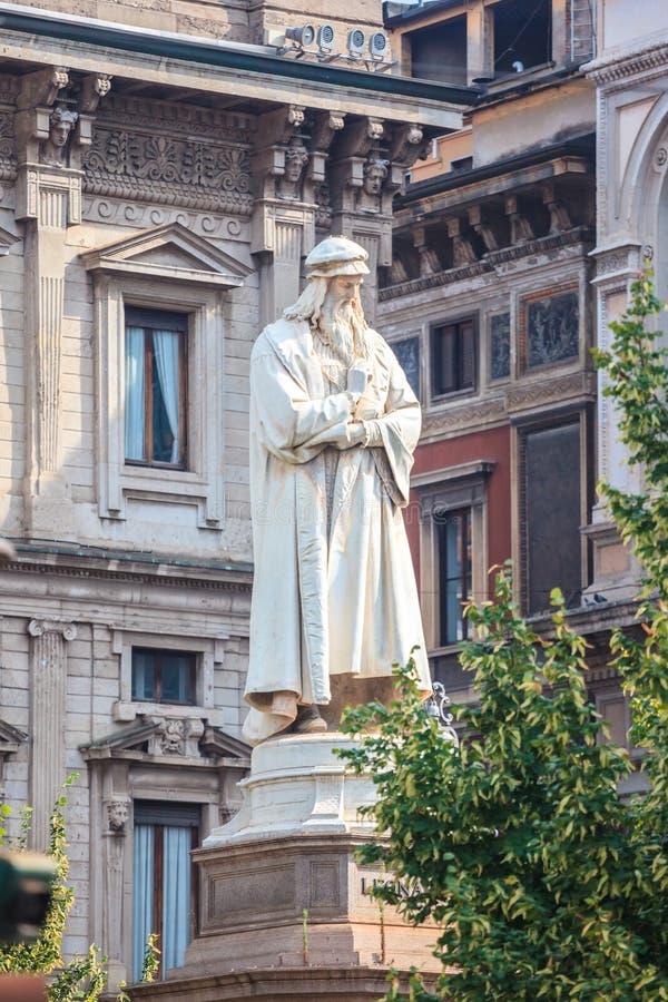 Leonardo`s monument on Piazza Della Scala, Milan, Italy. Leonardo`s monument on Piazza Della Scala, city Milan, Italy stock image