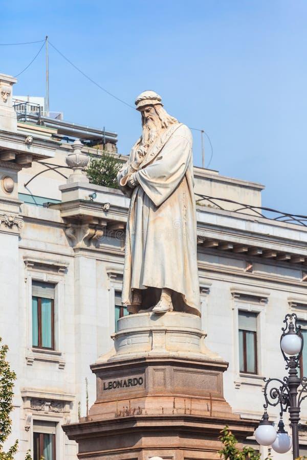 Leonardo`s monument on Piazza Della Scala, Milan, Italy. Leonardo`s monument on Piazza Della Scala, city Milan, Italy royalty free stock photo