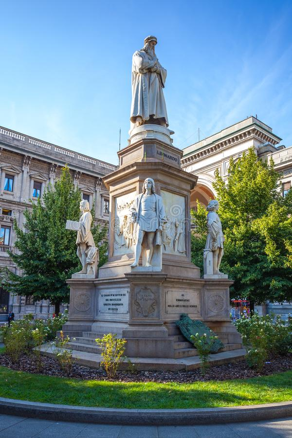 Leonardo`s monument on Piazza Della Scala, Milan, Italy. Leonardo`s monument on Piazza Della Scala, city Milan, Italy royalty free stock photography