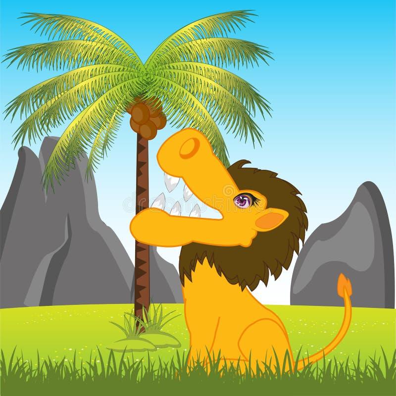 Leone in Africa sulla radura illustrazione vettoriale