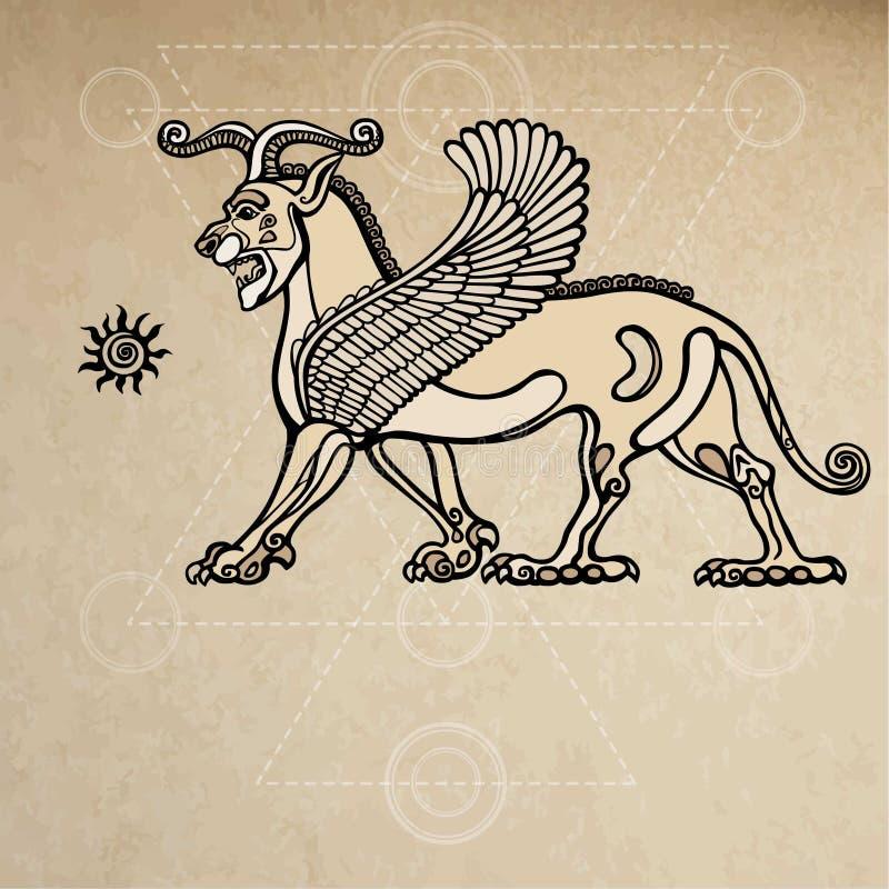 Leone alato chimera Assyrian Fondo - imitazione di vecchia carta illustrazione di stock