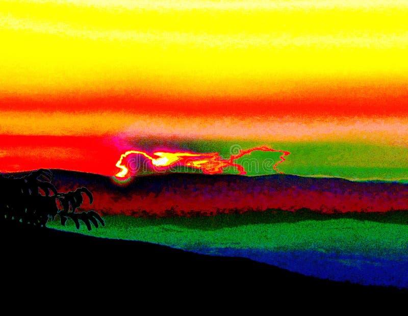 Leone alato luminoso nell'orizzonte al tramonto, pomeriggio, nuvola particolare, colori in natura illustrazione di stock