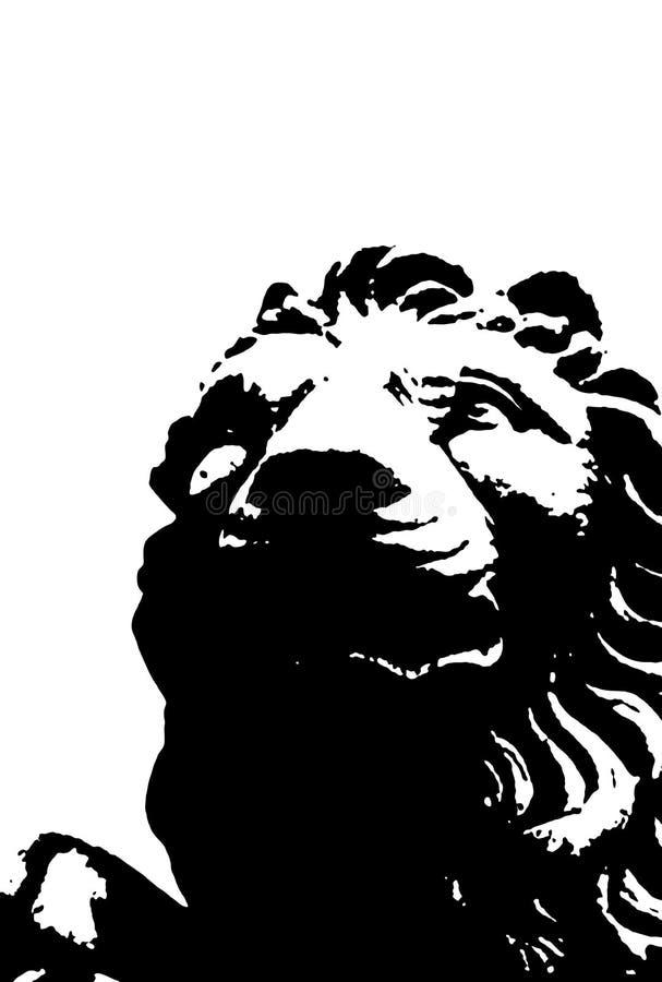 Leone in bianco e nero. Vettore illustrazione di stock