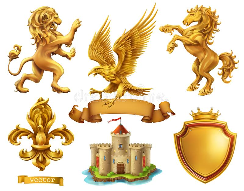 Leone, cavallo, aquila, giglio Elementi araldici dorati insieme dell'icona di vettore 3d illustrazione di stock