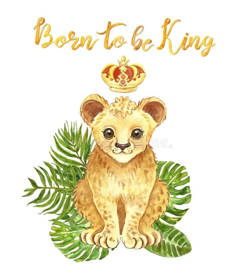 Leone del bambino dell'acquerello isolato con il mazzo tropicale delle foglie Cucciolo di leone sveglio in una citazione dell'isc illustrazione vettoriale