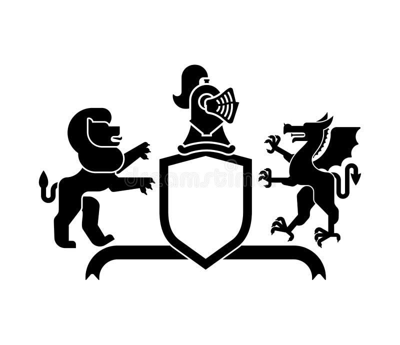 Leone dello schermo e drago e cavaliere araldici Helmet Bea fantastico illustrazione di stock