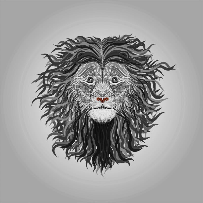 Leone dipinto con le linee regolari con i riccioli lunghi nella criniera, creatina illustrazione vettoriale
