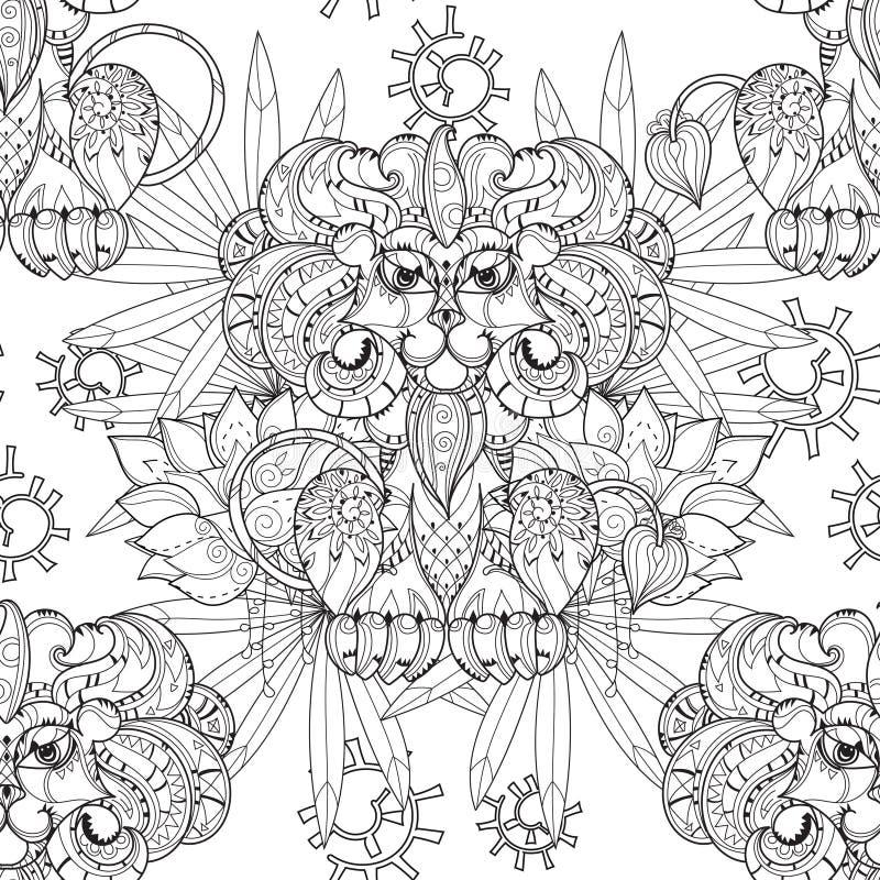 Leone disegnato a mano del profilo di scarabocchio in circo royalty illustrazione gratis