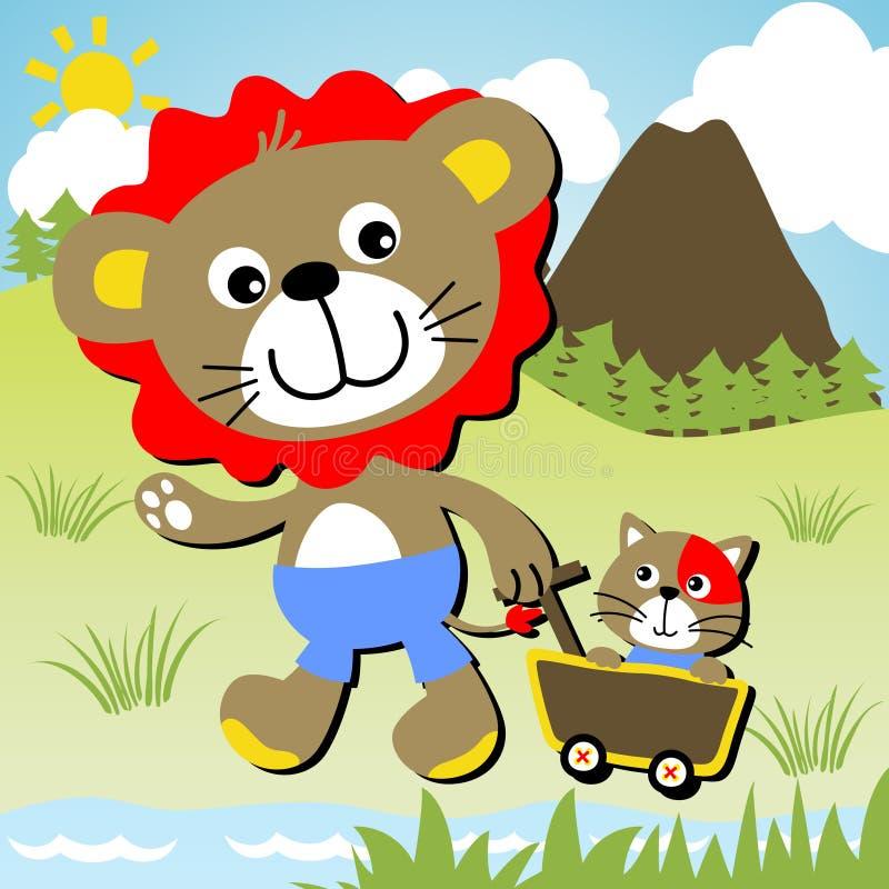 Leone e gatto illustrazione vettoriale