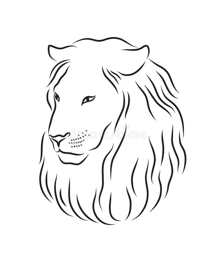 Leone Di Profilo Disegno.Leone Fiero Fronte Nel Profilo Illustrazione Vettoriale