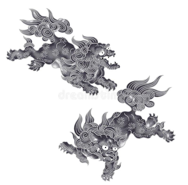 Leone giapponese illustrazione di stock