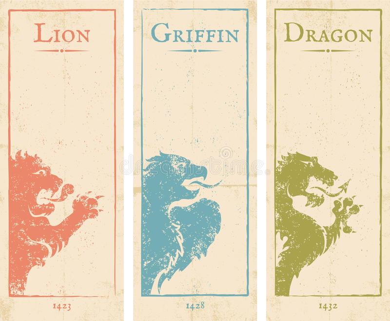 Leone, grifone e drago royalty illustrazione gratis