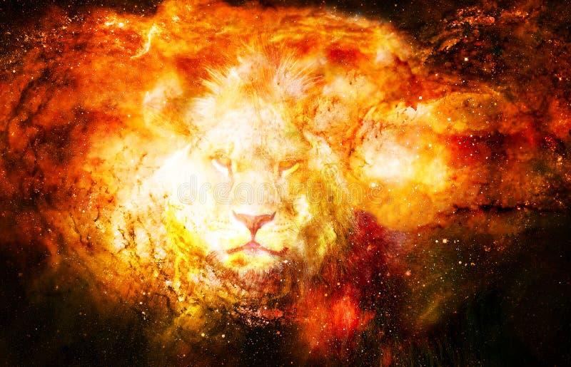 Leone nello spazio cosmico Foto del leone ed effetto grafico illustrazione vettoriale