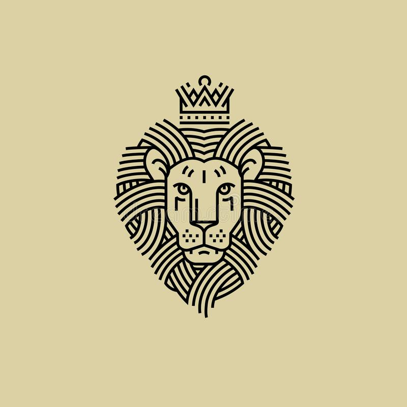 Leone reale nello stile della linea progettazione dell'incisione illustrazione vettoriale