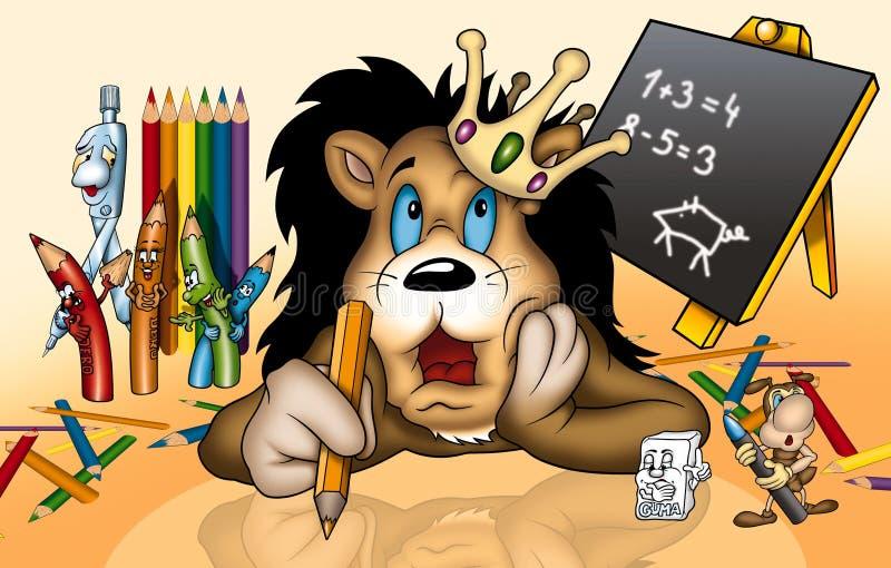 Leone a scuola illustrazione di stock