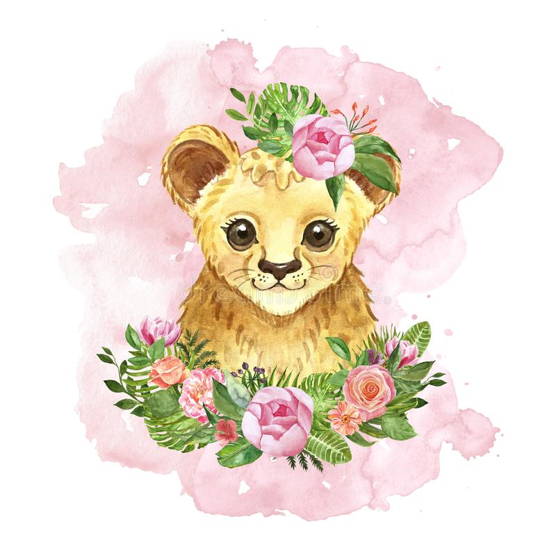 Leone sveglio del fumetto dell'acquerello e mazzo floreale tropicale Illustrazione animale africana esotica dipinta a mano, fiori royalty illustrazione gratis