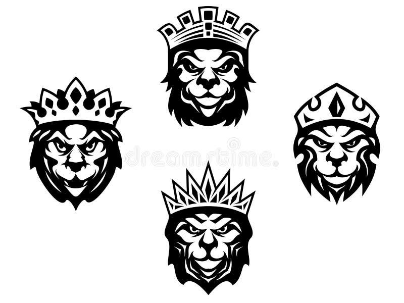 Leones de la heráldica con las coronas ilustración del vector
