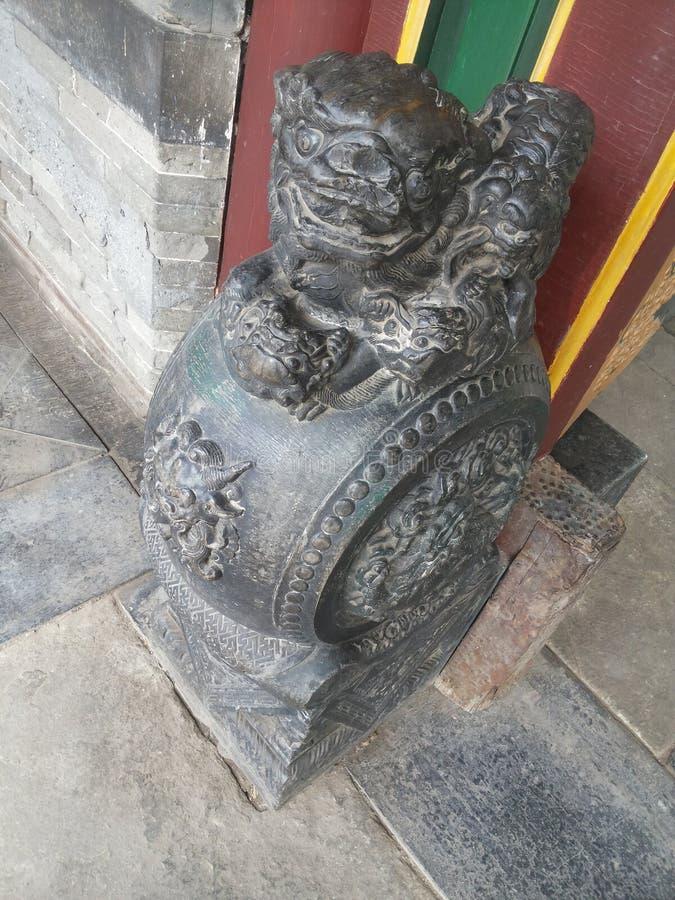 Leoni della porcellana-pietra del  of di Zhang House immagini stock