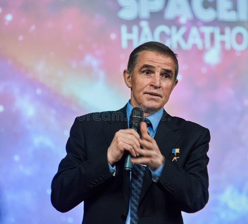 Leonid Kadeniuk Конференция астронавта стоковое изображение rf