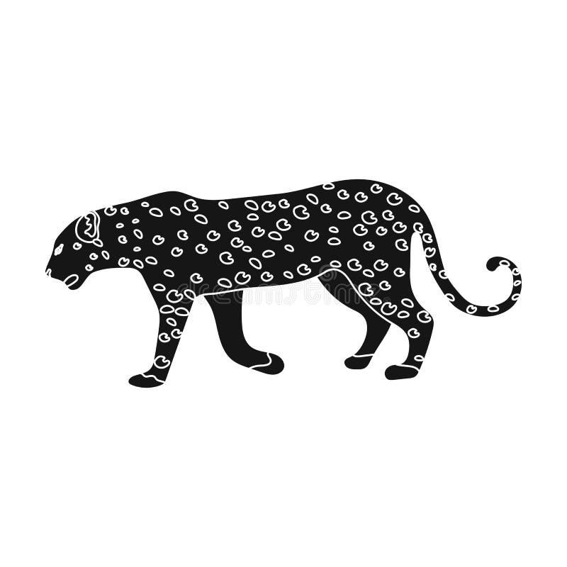 leopard Αφρικανικό ενιαίο εικονίδιο σαφάρι στο μαύρο Ιστό απεικόνισης αποθεμάτων συμβόλων ύφους διανυσματικό διανυσματική απεικόνιση