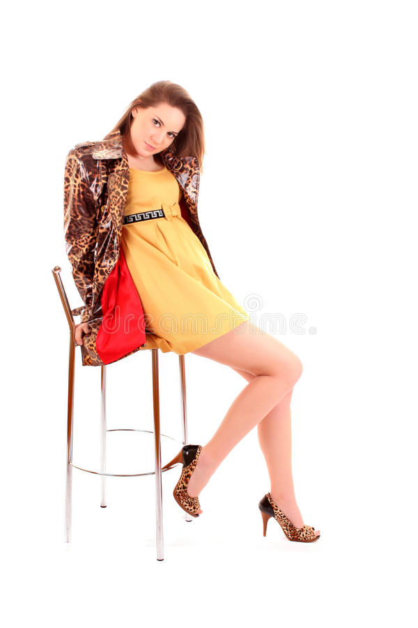 leopard μόδας παλτών μοντέλο στοκ εικόνες με δικαίωμα ελεύθερης χρήσης
