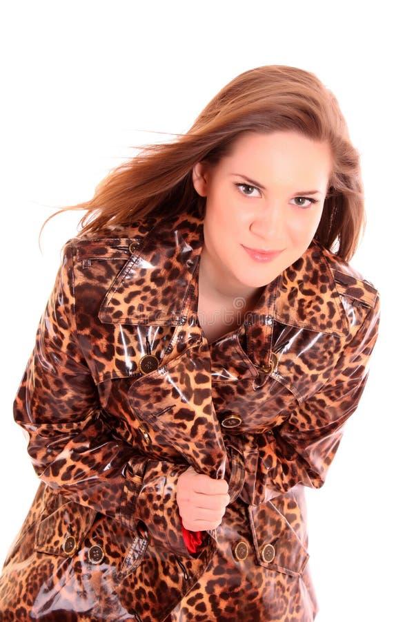 leopard παλτών μοντέλο στοκ εικόνες με δικαίωμα ελεύθερης χρήσης