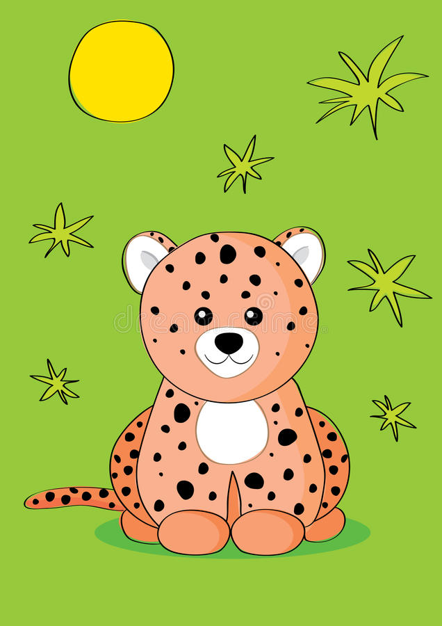 Leopard. The illustration a leopard sits, a leopard a children's toy vector illustration