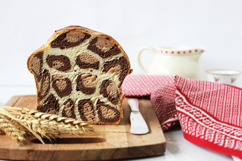 Leopard bread. Very tasty unusual leopard bread. Cacao. Animal print. Ideal dessert for lunch royalty free stock photos