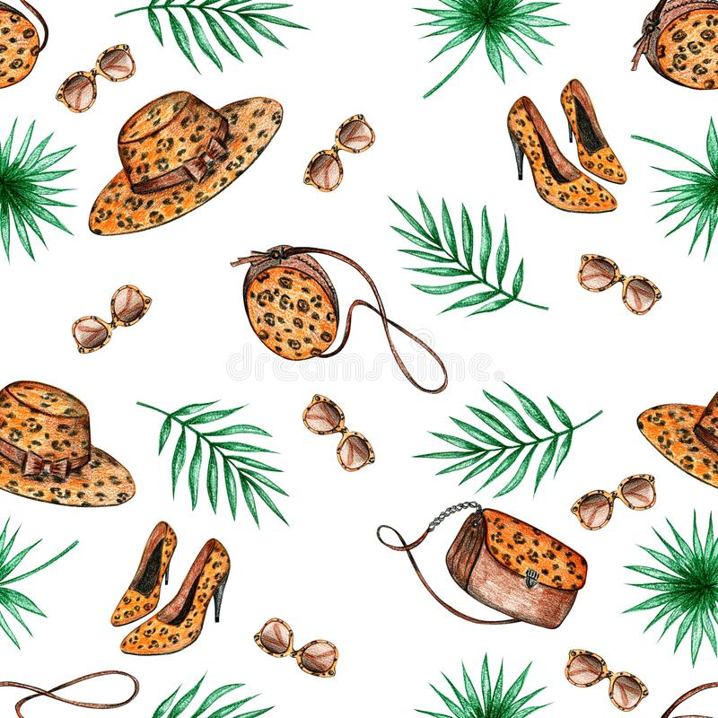 Palm leaves seamless pattern stock illustration