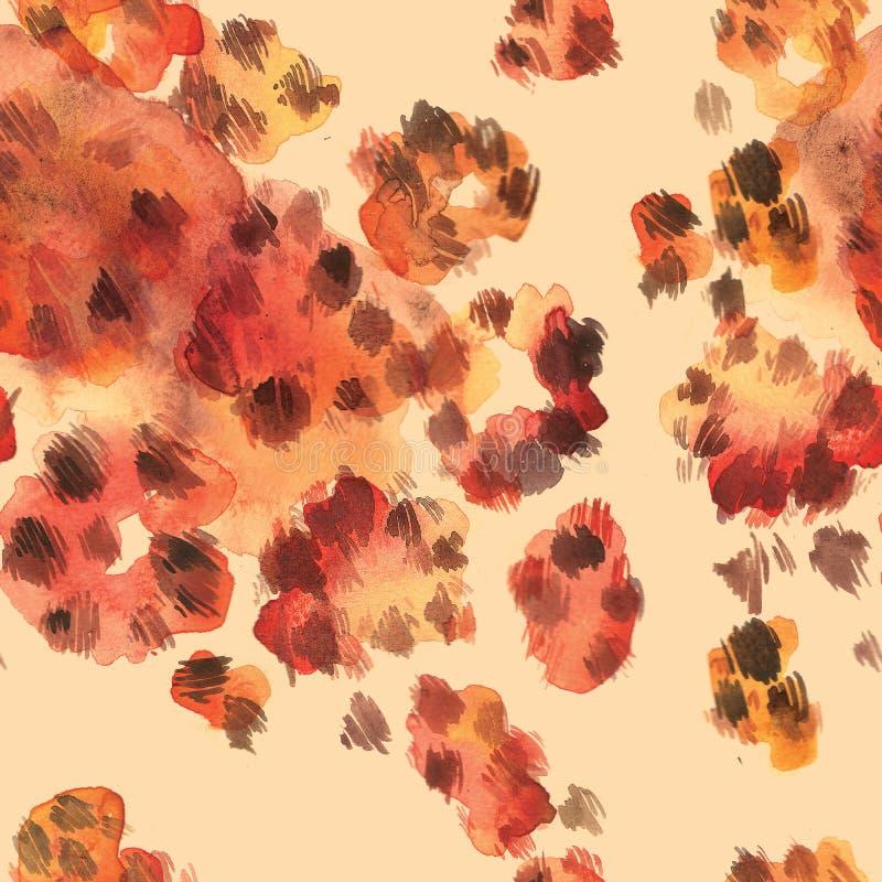 Leopard farbiges nahtloses Muster der Haut Gezeichnete Illustration des Aquarells Hand stock abbildung