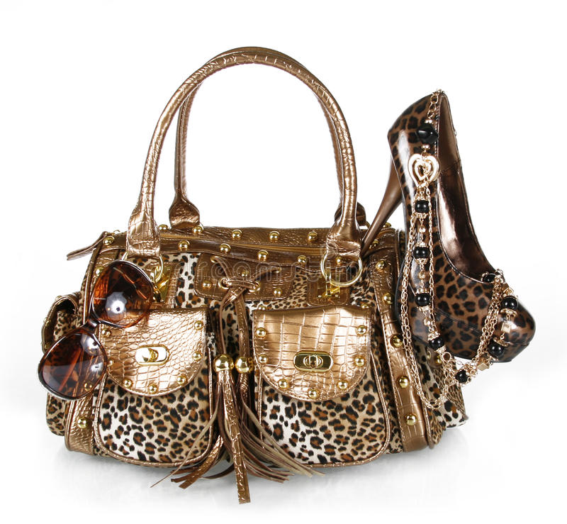Leopard handbag, shoe, sunglass stock images