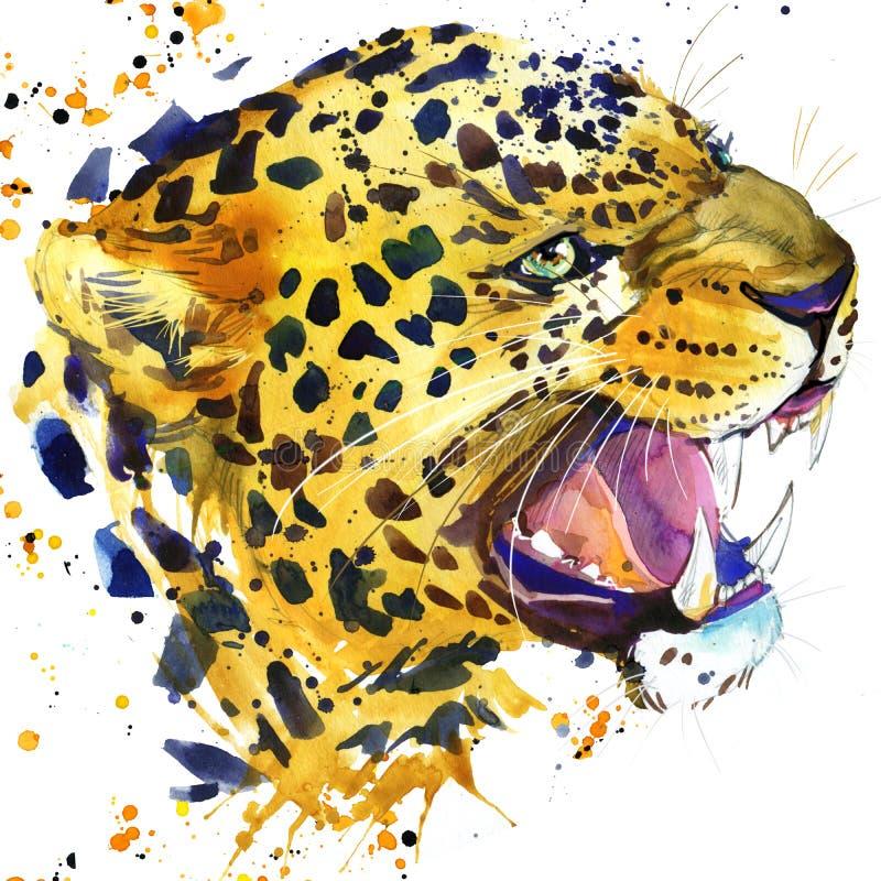 Leopard knurrt T-Shirt Grafiken, Leopardillustration mit Spritzenaquarell Texturhintergrund vektor abbildung