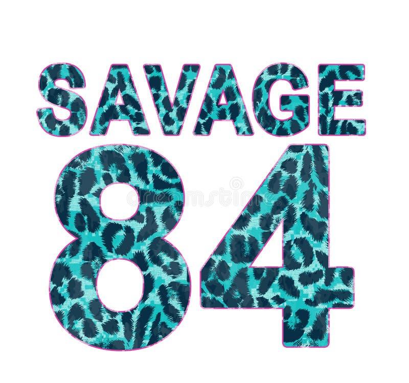 Leopard kopierte Zahl, T-Shirt Grafik lizenzfreie abbildung