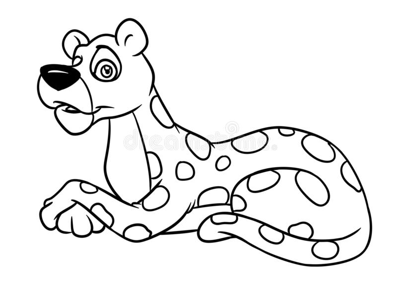 Leopard liegt Tiercharakterkarikaturillustrations-Farbtonseite vektor abbildung