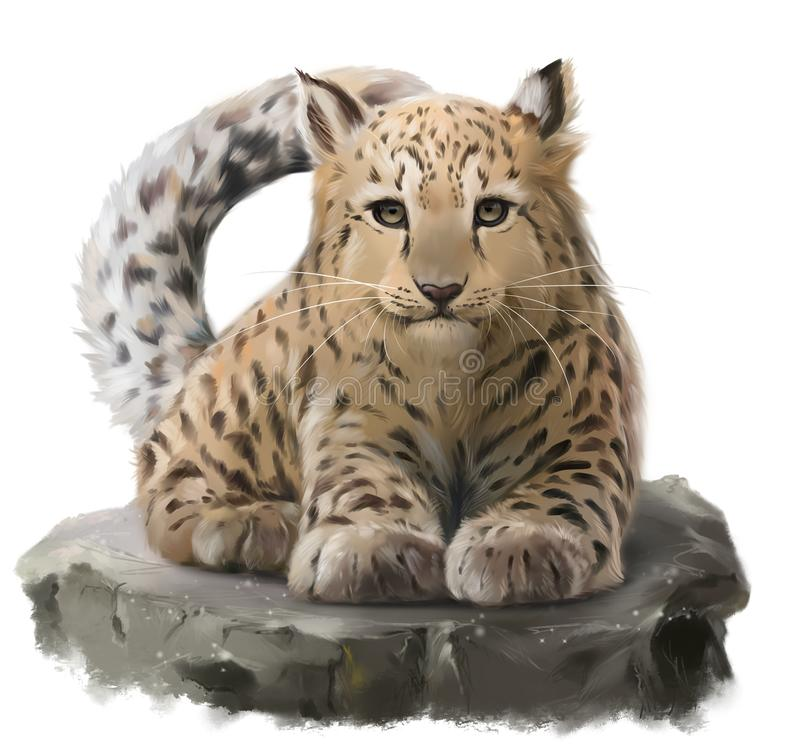 The leopard is lying on a rock. Watercolor drawing stock photography