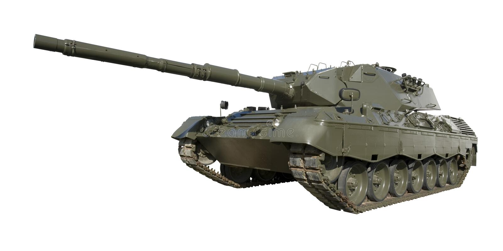 Leopard Military Tank on White. A German-built Leopard main battle tank set on a white background for easy isolation. (The JPEG file also includes a clipping stock photo