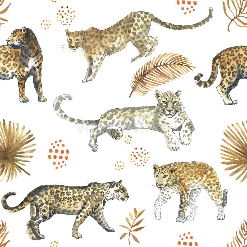 Leopard, nahtloses Muster des Jaguarkatzen-Tieres mit tropischen goldenen Blättern stockbilder