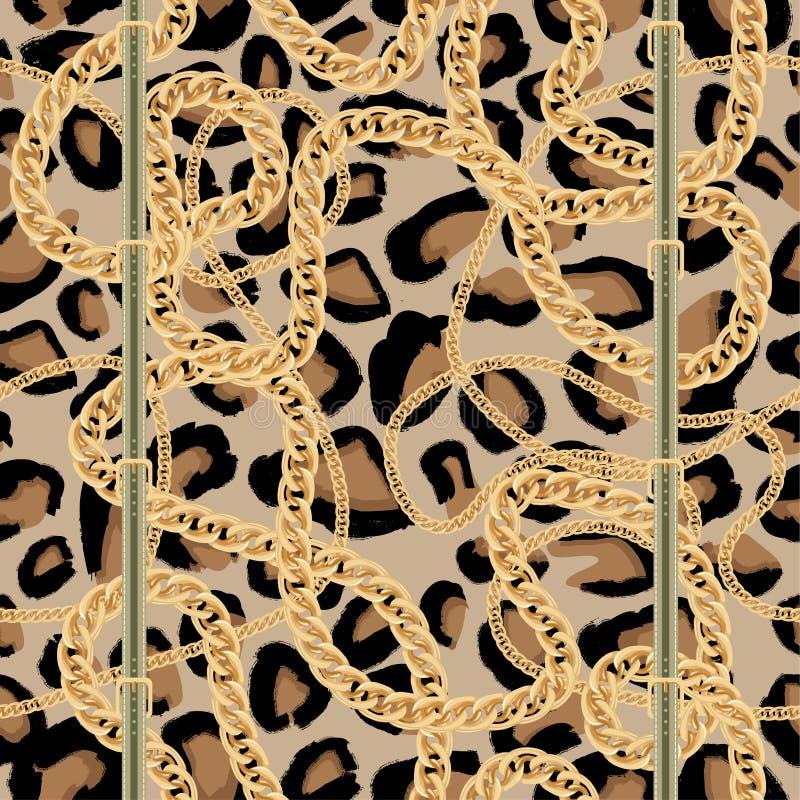 Leopard-nahtloses Muster mit goldener Kette und Gurt mit Schnalle lizenzfreie abbildung