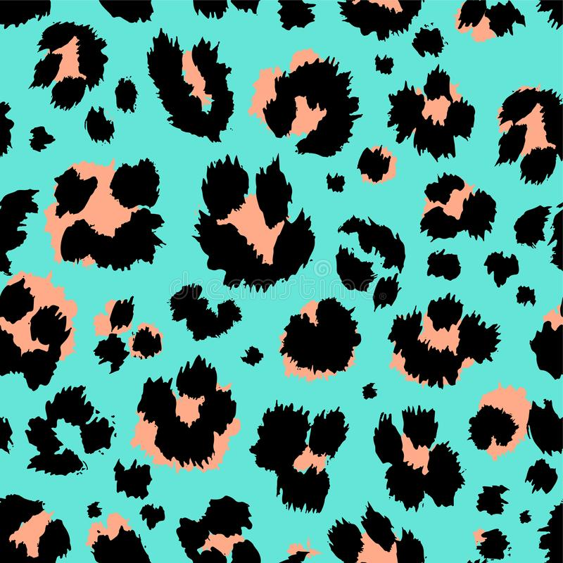 Leopard pattern design funny drawing seamless pattern. Lettering poster or t-shirt textile graphic design wallpaper. Wrapping paper royalty free illustration