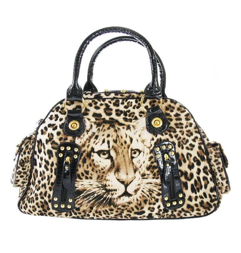Leopard print handbag isolated on white. Background royalty free stock photo