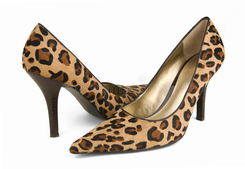 Leopard Print High Heel Shoes. Leopard print high shoes on a white background stock photo